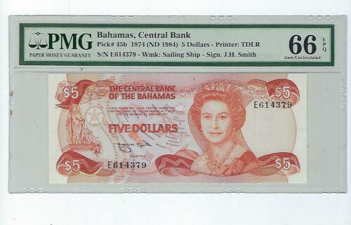 Bahamas p-45b, UNC, 5 Dollars, 1974, PMG Graded 66 EPQ