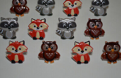 12 Woodland Animal Cupcake Rings Topper Fox Raccoon Owl Party Goody Bag Favor](Owl Cake Topper)