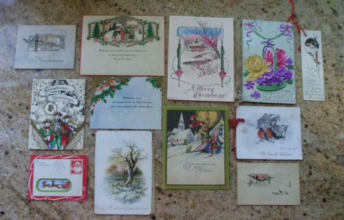 Antique Christmas Cards Early Lot Single and Bifold Victorian Volland Home Santa