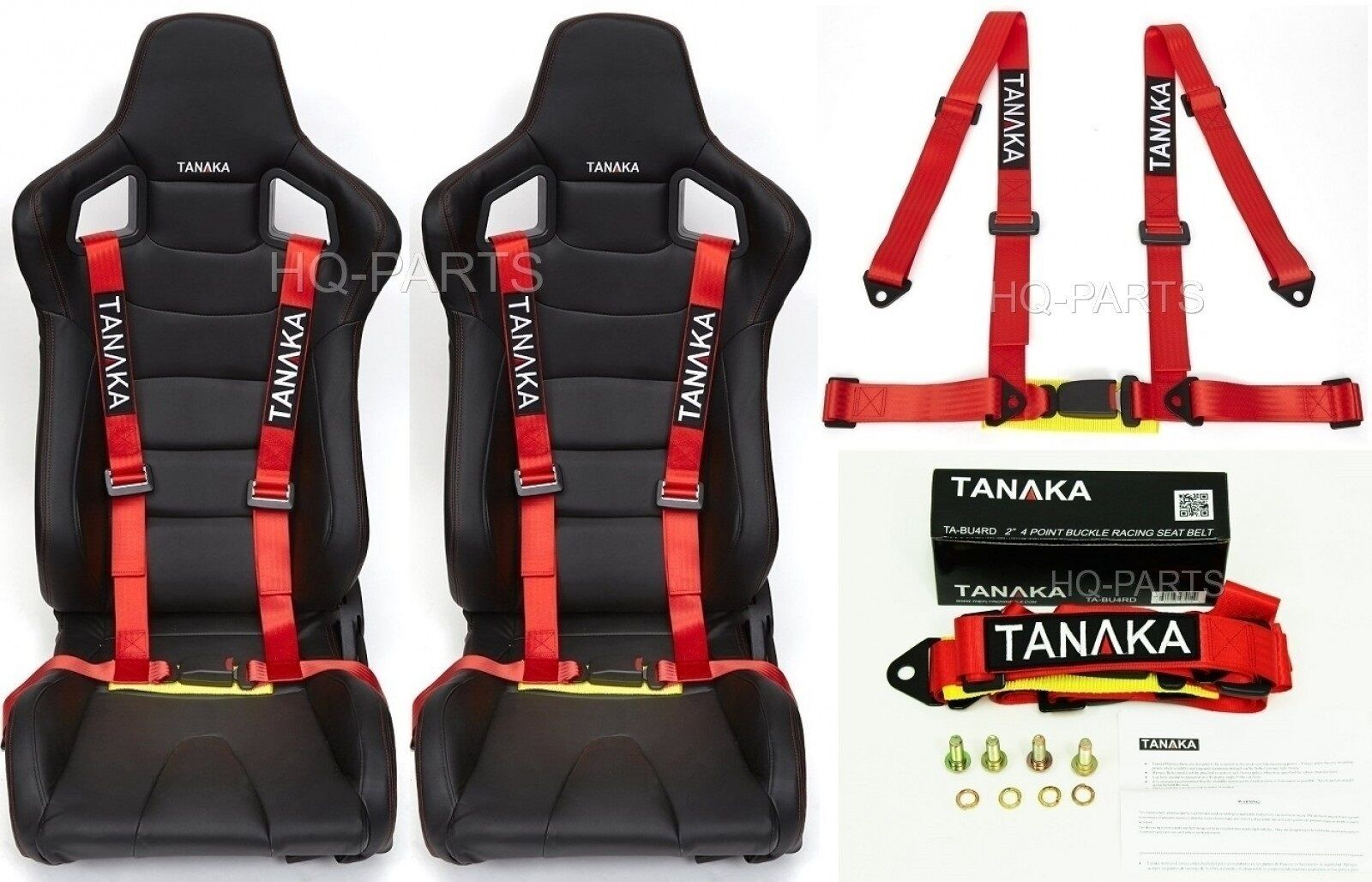 2 X TANAKA UNIVERSAL RED 4 POINT BUCKLE RACING SEAT BELT HARNESS