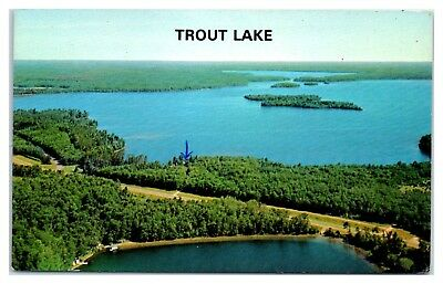 1960s/70s Aerial View of Trout Lake, WI Postcard