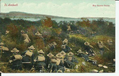 British Boy Scouts Series In Ambush Phostint 1910 Postcard