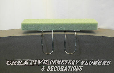 18  Double Memorial Cemetery Flower Headstone Tombstone Saddle With Floral Foam