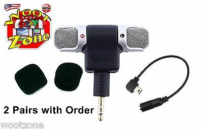 GENERIC ECM-DS70P MINI STEREO MIC w/ ADAPTER CABLE FOR GOPRO HERO 2, 3, 3+, 4