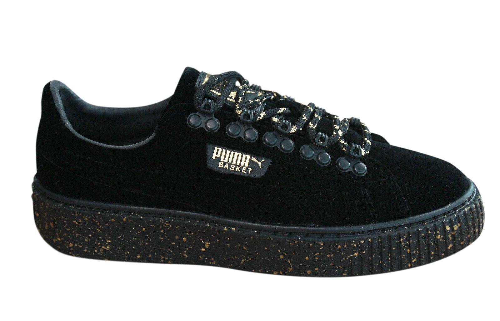Puma Basket plateforme velours WTR Chaussures Femme Baskets à Lacets Or Noir 366241 01 M18