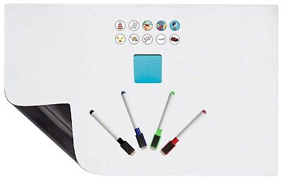 30 Piece Set Magnetic Refrigerator Whiteboard Dry Erase Sheet Pens Erasers Icons