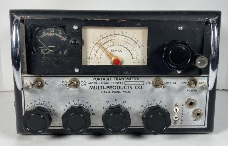 Rare Vintage Elmac Multi Products Vacuum Tube Portable Transmitter Model A54H