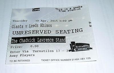 Huddersfield Giants v Leeds Rhinos 30th April 2015 Away Players Ticket