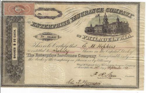 PENNSYLVANIA 1863 Enterprise Insurance Co of Philadelphia Stock Certificate