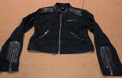 BCBG Generation Women's Black Leather Cotton  Full Zip Crop Jacket Motorcycle for sale  Newcastle