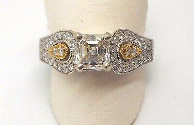 GEORGIA B 18K TWO TONE ASSCHER CUT/ROUND DIAMOND ENGAGEMENT RING