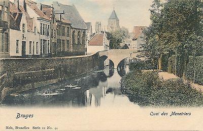BRUGES – Hand Colored Postcard - Quai des Menetriers – Belgium – udb (pre 1908)