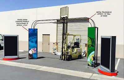 Trade Show Booth Truss Rail Exhibit Rotating Sign Lightboxes Sign Pillars Crates