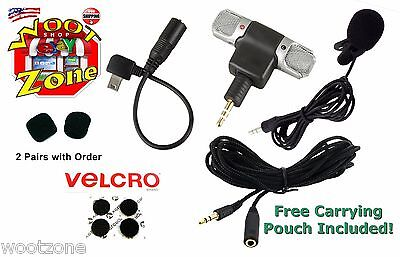 EXTERNAL STEREO MIC GOPRO HERO2 HERO3 HERO3+ & HERO4 W/ ADAPTER CABLE + LAV MIC