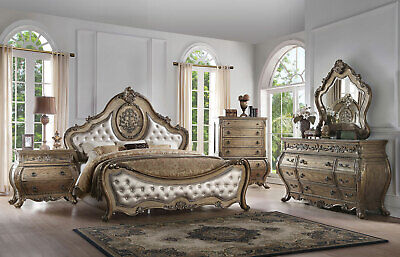 - ATLANTIC 5 pieces Traditional Brown Oak & Fabric Bedroom Set w. King Panel Bed