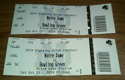 LOT OF 2  NOTRE DAME VS BOWLING GREEN TICKET STUBS USED October 05, 2019