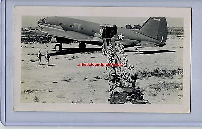 1942 CURTISS C-46 COMMANDO 15163 LOADING TROOPS USAAF ORIGINAL PHOTO JEEP RARE