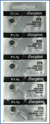 5 Pcs New Energizer 379 SR521W Watch Battery
