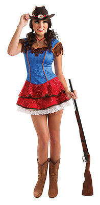 Female Cow Halloween Costume (Womens Cowgirl Costume Cow Girl Rodeo Fancy Dress Halloween Adults Sexy Hat NEW)