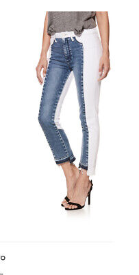 Paige Hoxton High Waisted Straight Ankle White & Blue Denim Jeans Size 27