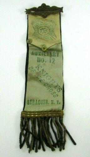 c1890 Knights Of The Cross Member Pin Ribbon 2 Sided Syracuse NY Auxiliary No 12