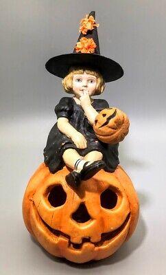 Bethany Lowe TD2285 Halloween witch girl Skylar lighted Pumpkin Jack-O-Lantern