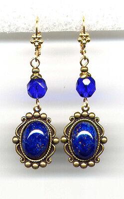 BLUE LAPIS Cobalt cut-crystal EARRINGS 14K Gold gp Art Deco Drop *Vintage Czech