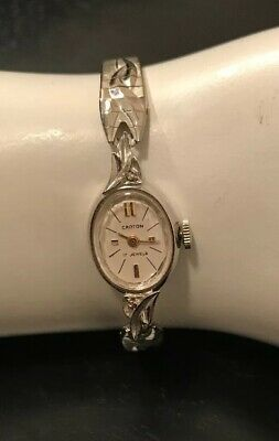 Croton 17 Jewels Movement Silver Tone Womens Bracelet Clasp & Chain Wrist Watch Croton Silver Bracelet