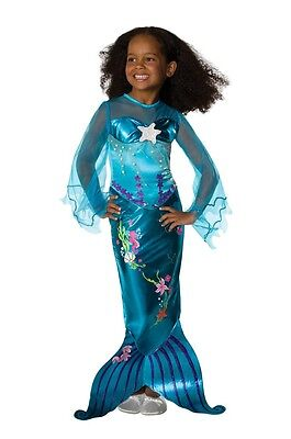 Girls Blue Mermaid Costume Halloween Fancy Dress S Small M Medium Child Kids NEW