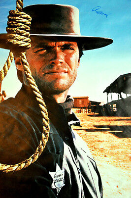 Hang Em High Movie Clint Eastwood Signed 24X36 Canvas Poster Photo