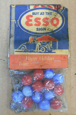 Vintage Advertising Promo Giveaway Marbles Buy At The Esso Sign Happy Holidays