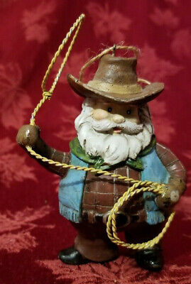 Cowboy Santa Christmas tree Ornament Pristine Condition