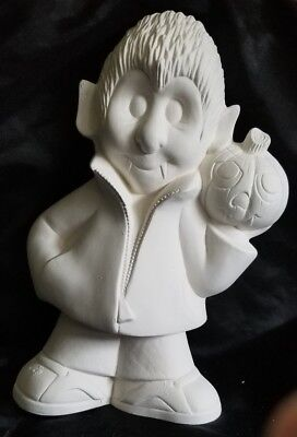 Halloween Pottery To Paint (Teen Vampire Trick or Treater Halloween Ready to Paint Unpainted Bisque)