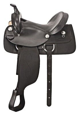 """Western Half leather and Synthetic Black Saddle With Silver Conchos 15"""""""