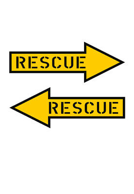 Home Decoration - RESCUE ARROW (2X) MILITARY AIRCRAFT Vinyl Window Decal 1 LEFT & 1 RIGHT ARROW