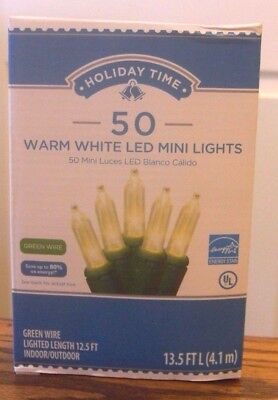 Holiday Time 50 Warm White LED Mini Lights-Christmas-Wedding-NEW-Green Wire  (Holiday Led Lights)