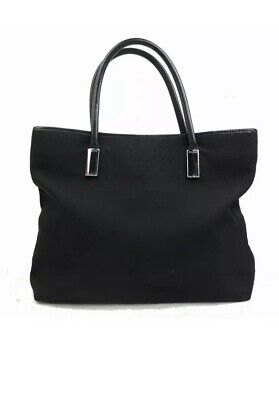 Auth GUCCI Vintage Black Nylon Leather Tote Shoulder Work Computer Bag