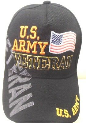 MILITARY CAP  U.S. ARMY VETERAN  WITH SHADOW & FLAG BLACK  HAT STYLE 2