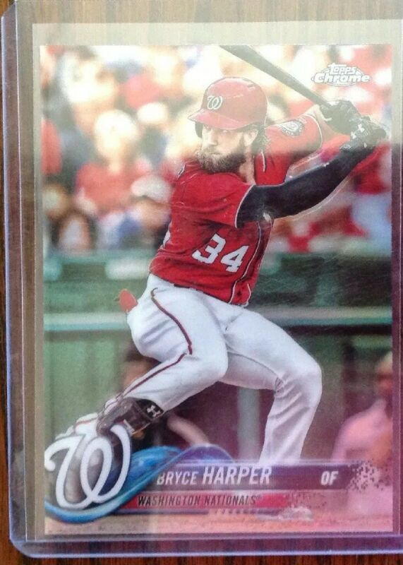2018 Topps Chrome Refractor Bryce Harper Philadelphia Phillies SP HOT #139