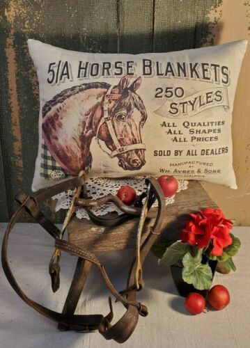 PRIMITIVE VINTAGE ANTIQUE VICTORIAN STYLE ADVERTISING STORE HORSE BLANKET PILLOW