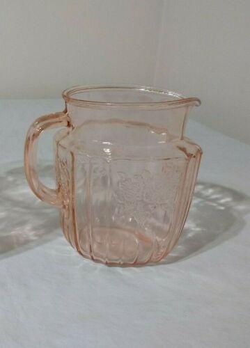 Vintage Pink Depression Glass Water/Juice Pitcher - Flower Pattern-4 Cups