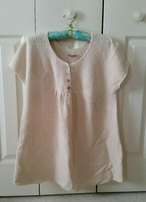 J Jill ivory sweater, short/cap sleeve pullover, Sz L, button detailing