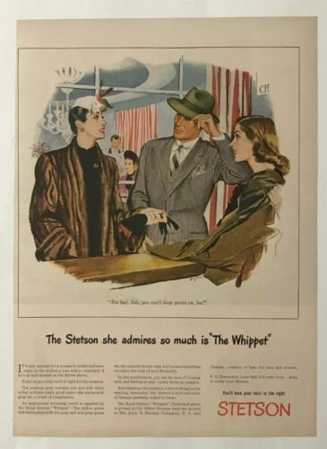 Vintage Original 1945 STETSON HATS Print Ad Advertisement