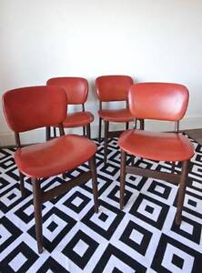 Set of 4 Parker Retro Dining Chairs, Solid Teak Orange Dulwich Hill Marrickville Area Preview