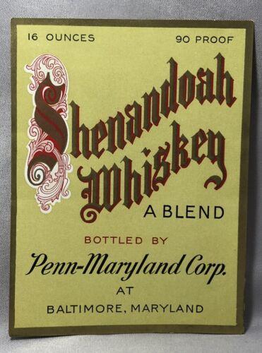 1930s SHENANDOAH WHISKEY Bottle Label BALTIMORE Penn-Maryland Corp