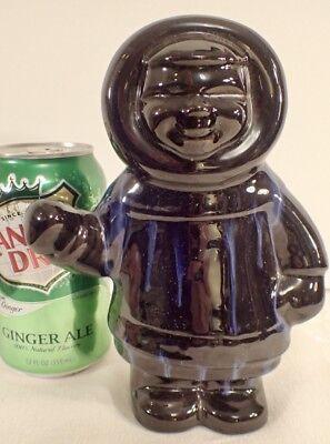 "Huronia Pottery Ltd. Canada Eskimo Figurine Gloss Black & Blue Drip Glaze 7""T"