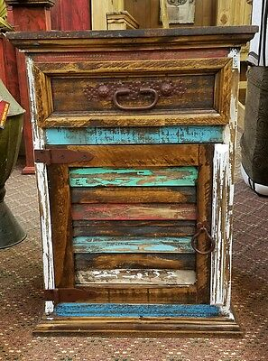 Rustic Multi Color Louvered Nightstand Decent Wood Shabby Chic Aged Distressed