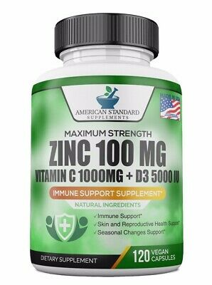 Zinc 100mg, Vitamin C 1000mg, Vitamin D 5000IU per Serving, Immune Support, 120