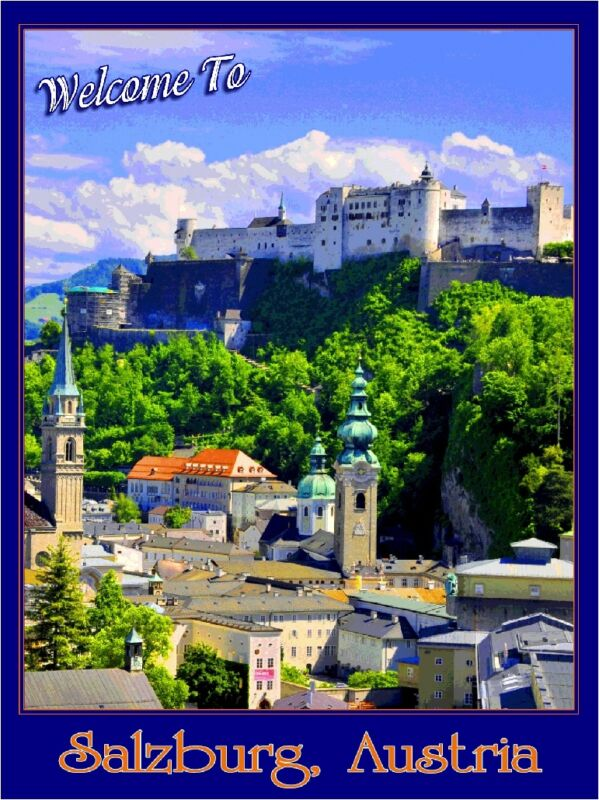 Salzburg Austria Sound of Music European Europe Travel Advertisement Poster