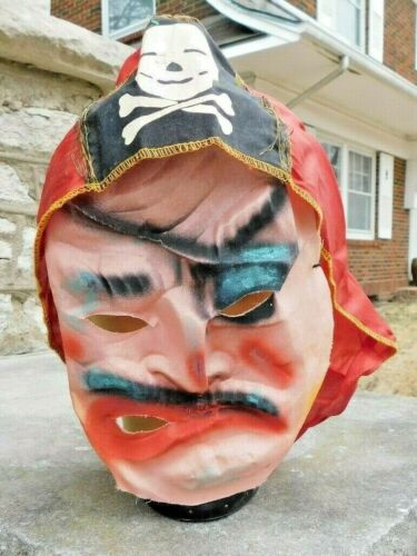 ANTIQUE HALLOWEEN PIRATE MASK AND HEAD COVERING CLOAK MASK IS FIBER / CLOTH